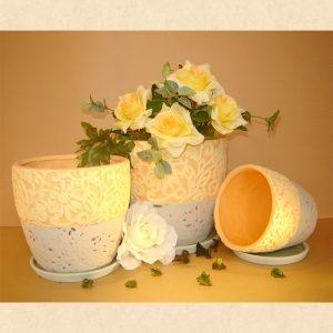 Set 3 ghivece ceramica